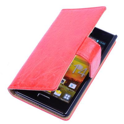 Bestcases Vintage Oranje Book Cover Hoesje voor LG Optimus L7 P700