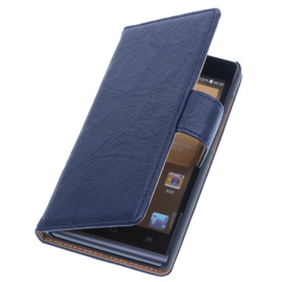BestCases Navy Blue Luxe Echt Lederen Booktype Hoesje voor Huawei Ascend G6
