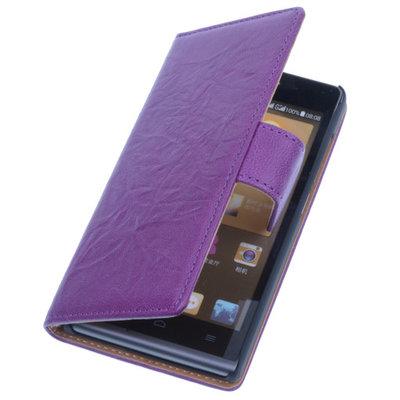 BestCases Lila Luxe Echt Lederen Booktype Hoesje voor Huawei Ascend G6