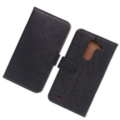 BestCases Zwart Luxe Echt Lederen Booktype Hoesje voor LG G Pro 2