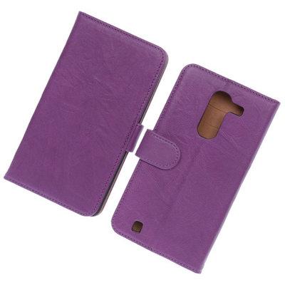 BestCases Lila Luxe Echt Lederen Booktype Hoesje voor LG G Pro 2