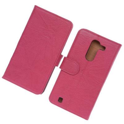 BestCases Fuchsia Luxe Echt Lederen Booktype Hoesje voor LG G Pro 2