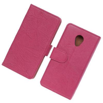 BestCases Fuchsia Luxe Echt Lederen Booktype Hoesje voor HTC Desire 700