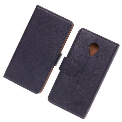 BestCases Navy Blue Luxe Echt Lederen Booktype Hoesje voor HTC Desire 700