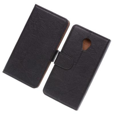 BestCases Zwart Luxe Echt Lederen Booktype Hoesje voor HTC Desire 700