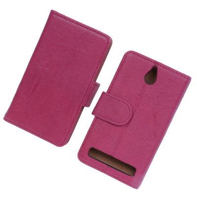 BestCases Fuchsia Luxe Echt Lederen Booktype Hoesje voor Sony Xperia E1