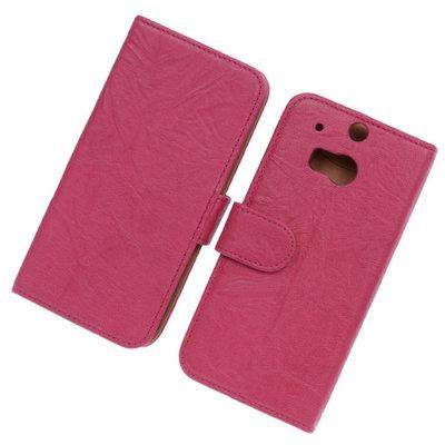 BestCases Fuchsia Luxe Echt Lederen Booktype Hoesje voor HTC One M8