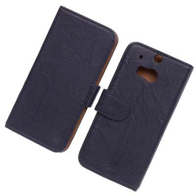 BestCases Navy Blue Luxe Echt Lederen Booktype Hoesje HTC One M8