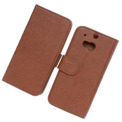 BestCases Bruin Luxe Echt Lederen Booktype Hoesje HTC One M8