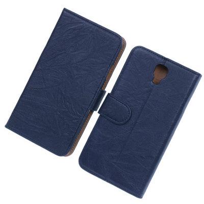 BestCases Navy Blue Echt Leer Booktype Hoesje voor Samsung Galaxy Note 3 Neo