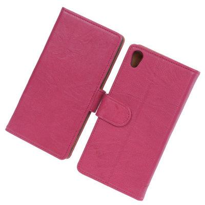 BestCases Fuchsia Luxe Echt Lederen Booktype Hoesje voor Sony Xperia Z2