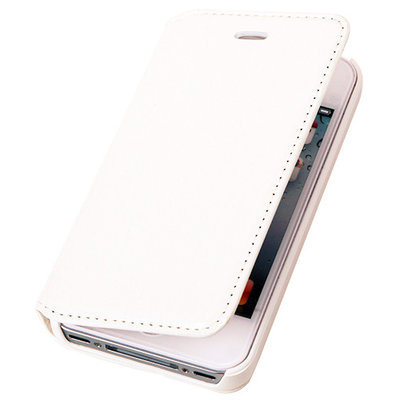 BestCases Wit Map Case Book Cover Hoesje Apple iPhone 4 4s