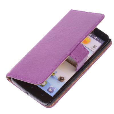 BestCases Lila Luxe Echt Lederen Booktype Hoesje voor Huawei Honor 3X G750