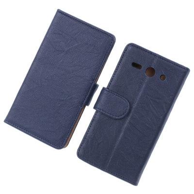 BestCases Navy Blue Echt Lederen Booktype Hoesje voor Huawei Ascend Y530
