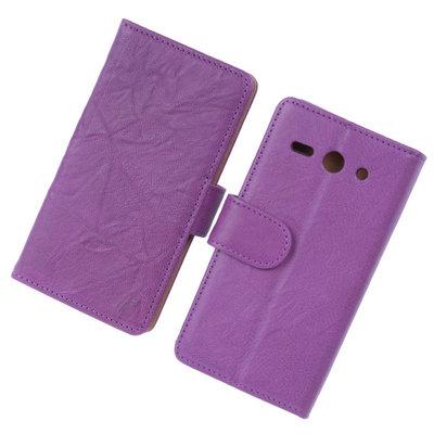 BestCases Lila Luxe Echt Lederen Booktype Hoesje voor Huawei Ascend Y530