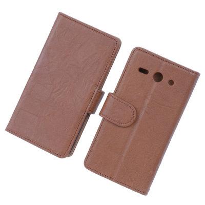 BestCases Bruin Luxe Echt Lederen Booktype Hoesje voor Huawei Ascend Y530