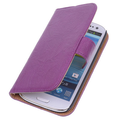 BestCases Lila Echt Leer Booktype Hoesje voor Samsung Galaxy S3 i9300