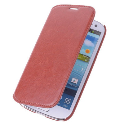 Bestcases Bruin Map Case Book Cover Hoesje voor Samsung Galaxy S3