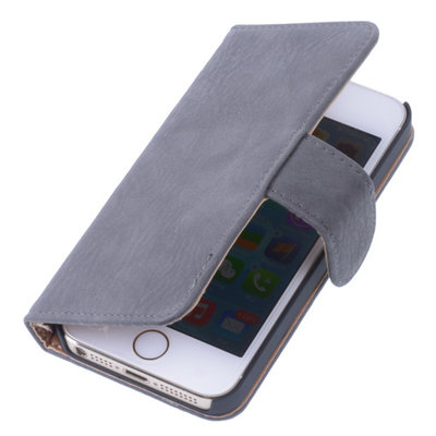 Grijs Hout Bookcase Cover Hoesje Apple iPhone 5 5s