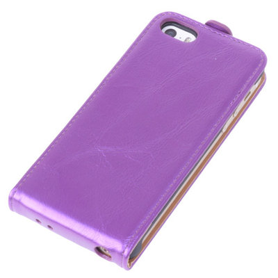 Bestcases Paars Antiek Flip Case Hoesje Apple iPhone 5 5S