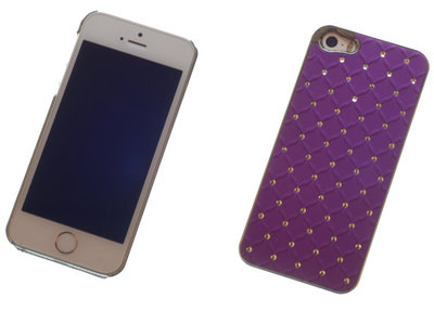 Backcover Purple Met Strass-Steentjes Hoesje Apple iPhone 5 / 5s