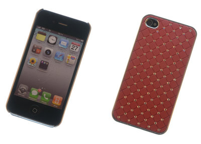 Backcover Rood Met Strass-Steentjes Hoesje voor Apple iPhone 4 / 4s