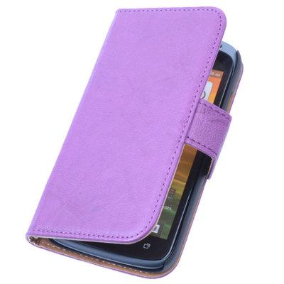 BestCases Lila Luxe Echt Lederen Booktype Hoesje voor HTC Desire 500