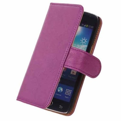 BestCases Lila Echt Leer Booktype Hoesje voor Samsung Galaxy S2 Plus i9100