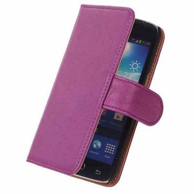 BestCases Lila Luxe Echt Lederen Booktype Hoesje voor Samsung Galaxy S4 Mini i9190