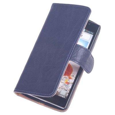 BestCases Navy Blue Echt Lederen Booktype Hoesje voor LG Optimus L7 2 P710