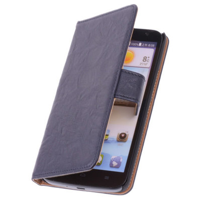 BestCases Stand Navy Blue Leder Book Wallet Hoesje voor Huawei Ascend Y320