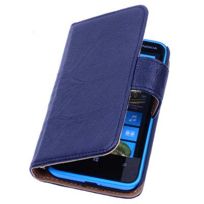 BestCases Stand Navy Blue Luxe Echt Lederen Book Wallet Hoesje voor Nokia X