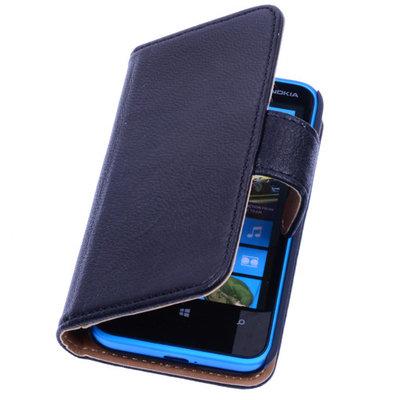 BestCases Stand Zwart Luxe Echt Lederen Book Wallet Hoesje voor Nokia Lumia 900