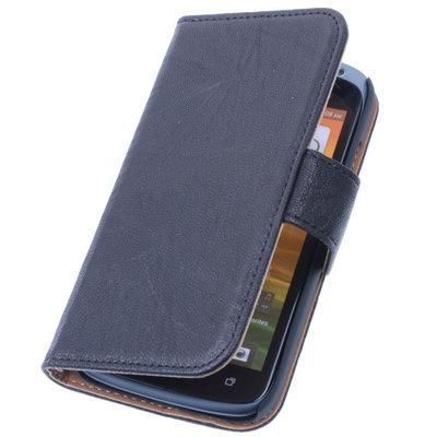 BestCases Zwart Luxe Echt Lederen Booktype Hoesje voor HTC Desire 601