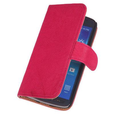 BestCases Fuchsia Echt Leer Booktype Hoesje voor Samsung Galaxy Ace Plus S7500