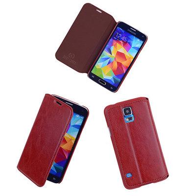 Bestcases Bruin Map Case Book Cover Hoesje voor Samsung Galaxy S5