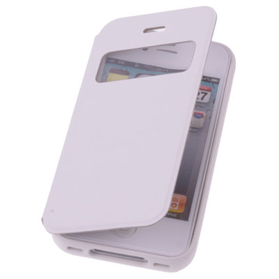 View Cover Wit Hoesje voor Apple iPhone 4 4s Protect Stand Case TPU Book-style