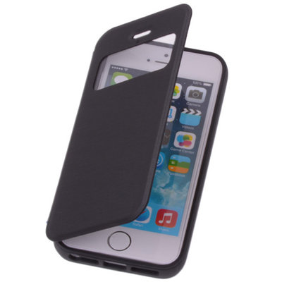 View Cover Zwart Apple iPhone 5 5s Protect Stand Case TPU Book-style
