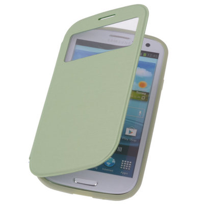 View Cover Groen Hoesje voor Samsung Galaxy S3 Stand Case TPU Book-style