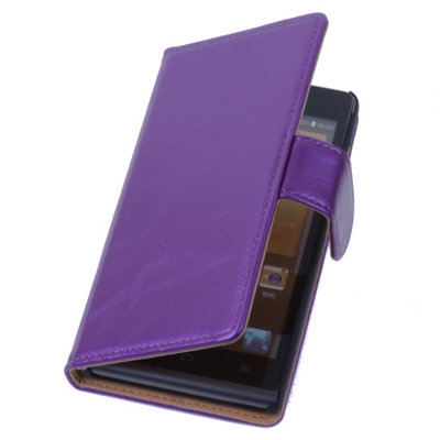 PU Leder Lila Hoesje voor Sony Xperia E1 Book/Wallet Case/Cover