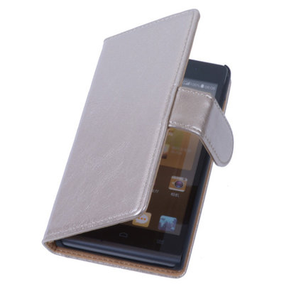 PU Leder Goud Hoesje voor Sony Xperia E1 Book/Wallet Case/Cover