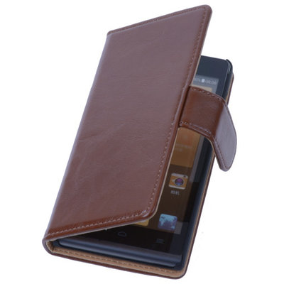 PU Leder Bruin Hoesje voor Sony Xperia E1 Book/Wallet Case/Cover