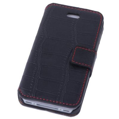 Zwart Croco Hoesje iPhone 4 4s Book/Wallet Case/Cover