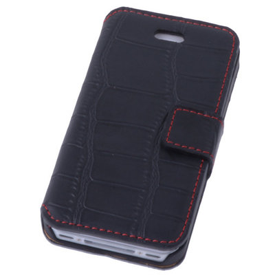 Zwart Croco iPhone 4 4s Book/Wallet Case/Cover