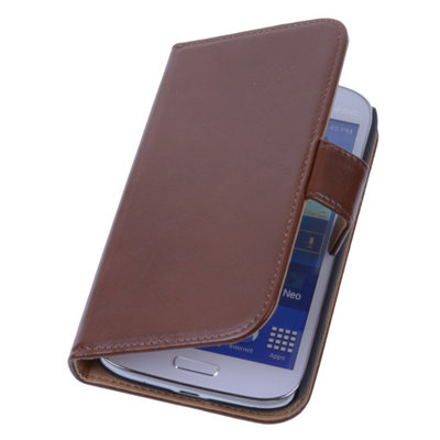 PU Leder Bruin Samsung Galaxy Grand Neo Book/Wallet Case/Cover