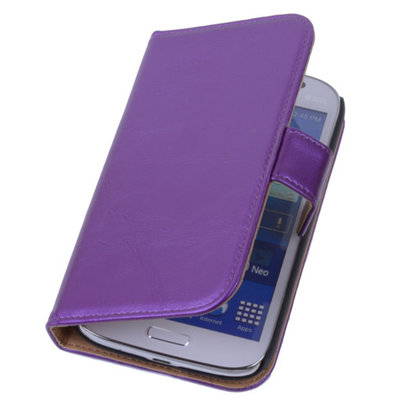PU Leder Lila Hoesje voor Samsung Galaxy Grand Neo Book/Wallet Case/Cover