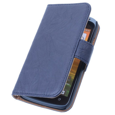 BestCases Navy Blue Echt Lederen Booktype Hoesje voor HTC One Mini 2 / M8 Mini