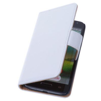 PU Leder Wit Hoesje LG L9 2 Book/Wallet Case/Cover