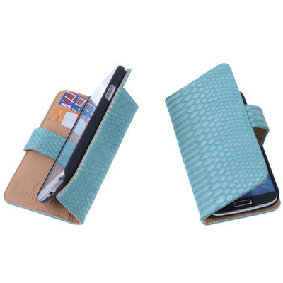"""Bestcases """"Slang"""" Turquoise Huawei Ascend Y300 Bookcase Cover Hoesje"""