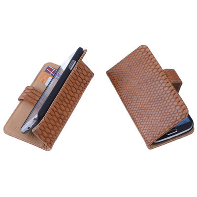 """Bestcases """"Slang"""" Bruin Huawei Ascend Y330 Bookcase Cover Hoesje"""